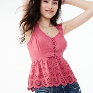 Lace up Cutout Babydoll Top